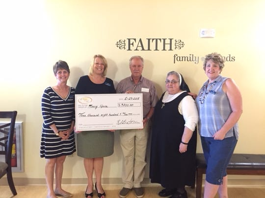The Rae of Hope Foundation Director Ron Butora presented a donation check to Mercy House of the Southern Tier. From left are Amy Roma, Linda Cerra, Ron Butora, Sister Joanna and Ann Lomonaco.