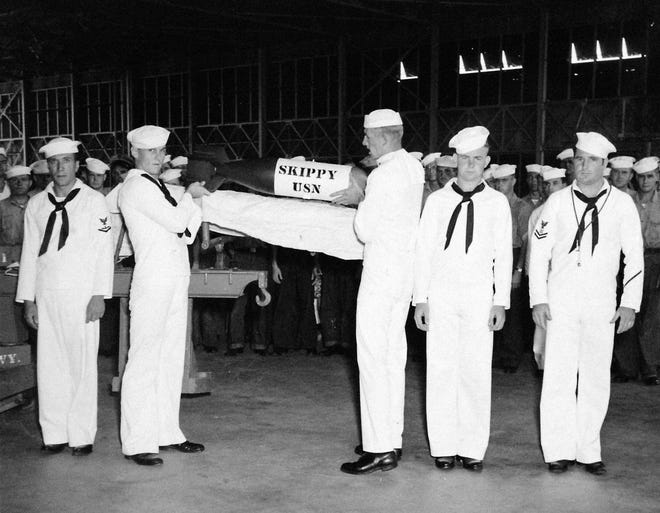 Sept. 7 marks the 75th anniversary of the burial at sea in 1943 of Skippy, the beloved mascot of Squadron 12 stationed at Banana River Naval Air Station, now Patrick Air Force Base. The pet was encased in an empty bomb shell.