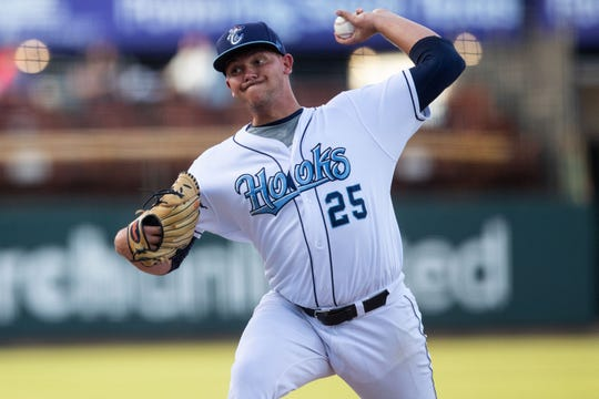 Hooks pitcher Ryan Hartman threw 7.2 innings in the Hooks 7-0 win on Wednesday.