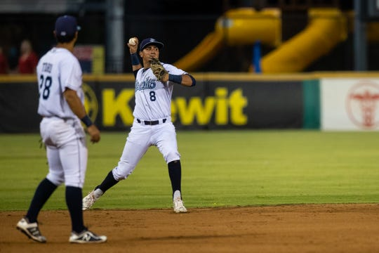 Hooks' Josh Rojas throws the ball to first for an out during the fifth inning of the first Texas League South Division playoff game against the Missions at Whataburger Field on Wednesday, Sept. 5, 2018.