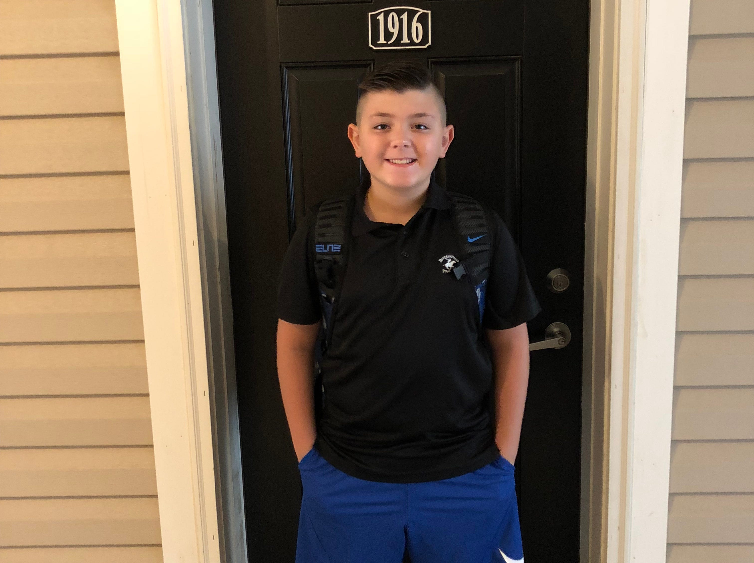 Thomas Wood looks excited to start classes at Williamstown Middle School, where he's a fifth-grader.