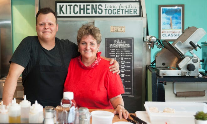 Chef-owner Ross Scofield of Cinnaminson and his mom and business partner Brenda Harakas work together at their new brunch-and-dinner cafe, The Farmacy, in Palmyra. Scofield's partner, Danielle Coulter, and is dad, Sam Harakas, are also partners in the business.