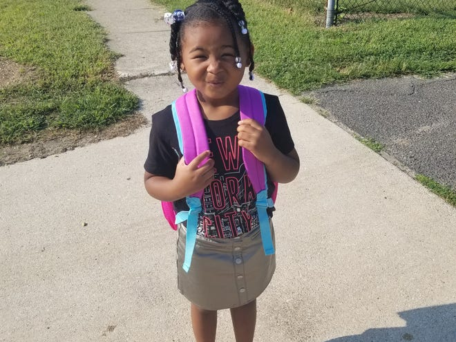 Olivia Harris-Potter is supplying the cuteness on her first day of pre-K in Vineland.