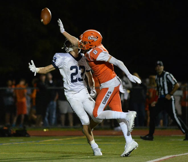 Cherokee's Jackson Mcintyre breaks up a pass intended for Shawnee's Jake Schillinger in last year's 42-41 Chiefs' overtime win. The two teams renew the annual rivalry Friday at 7 p.m. in Medford.