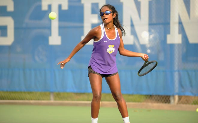 Unioto girls tennis' Sylvia Gray won a district championship on Wednesday, her third of her career.
