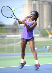 Unioto's Sylvia Gray hits a ball against Washington in 2018. Gray signed with Wright State University's tennis program on Wednesday.