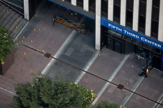 An aerial shot of where the shooter entered Fifth Third Center.