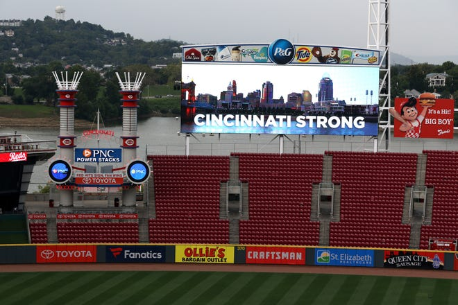 Sep 6, 2018; Cincinnati, OH, USA; View of the video board showing support for the victims of a shooting in Cincinnati, prior to the game between the San Diego Padres and the Cincinnati Reds at Great American Ball Park.