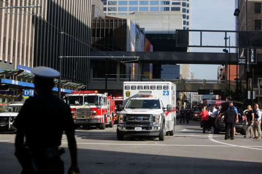Emergency services at the scene of the shooting.