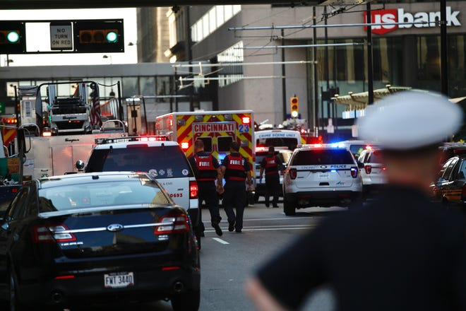 Gunfire erupted at Fountain Square in downtown Cincinnati on Sept. 6, 2018.