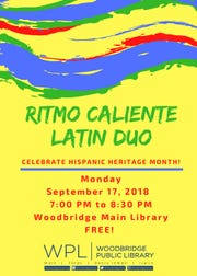 The Ritmo Caliente Latin Duo will perform at 7 p.m. on Monday, Sept. 17, at Woodbridge Main Library.