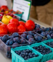 Fresh produce from Storybook Orchard's stand at the Johnston Farmer's Market on September 4, 2018.