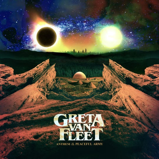 "Greta Van Fleet's ""Anthem of the Peaceful Army"" cover art"