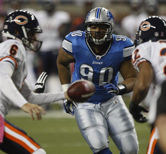 Lions defensive lineman Ndamukong Suh rushes against Bears QB Jay Cutler during first-half action on Monday, Oct. 10, 2011, at Ford Field.