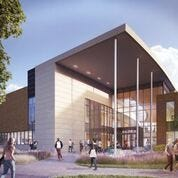 An artist rendering of the new pavilion at Michigan State University's business school.