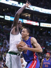 Pistons forward Tayshaun Prince drives against Celtics forward Kevin Garnett during the first half of Game 5 of the Eastern Conference finals on Wednesday, May 28, 2008, in Boston.
