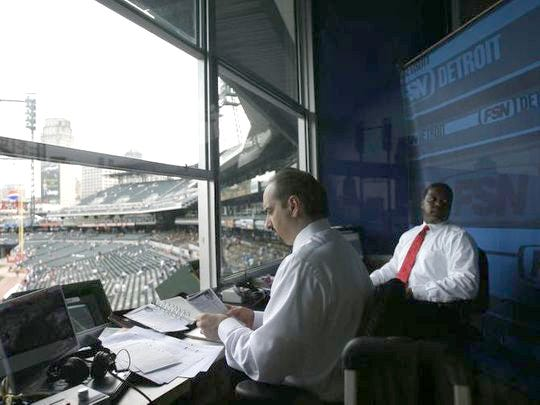 Fox Sports Detroit commentators Mario Impemba, left, and Rod Allen.