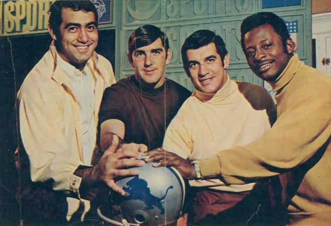 The youth and talent of the Lions is typified by this quartet of tackle Rockne Freitas, quarterback Greg Landry and Backs Nick Eddy and Mel Farr in 1969.