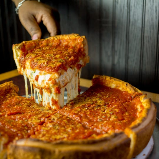 PizzaPapalis in Detroit has a great deep dish pizza in Greektown. Very good Chicago styled pizza.