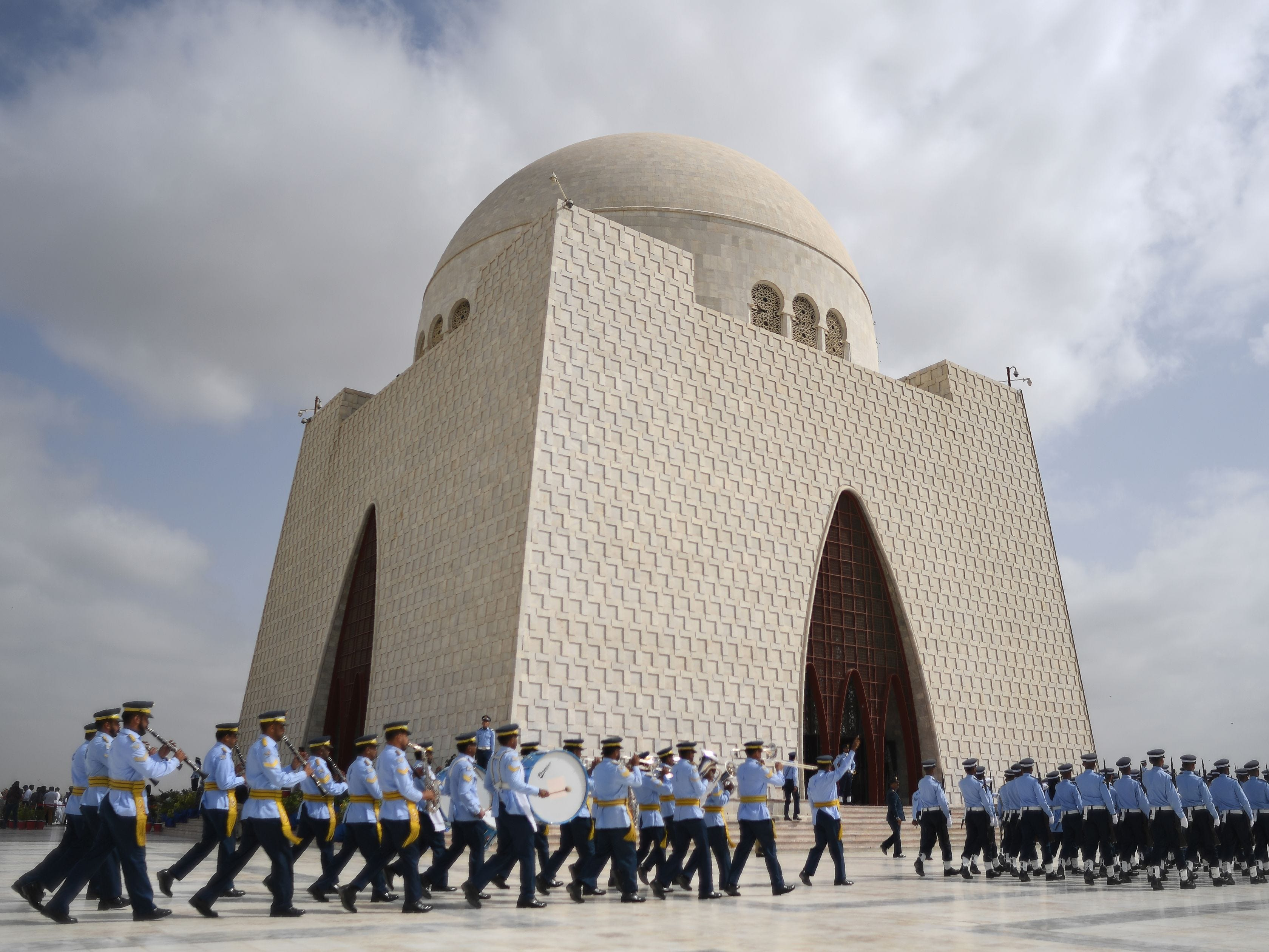 Pakistan Air Force cadets march next to the mausoleum of the country's founder, Mohammad Ali Jinnah, to mark the country's Defense Day in Karachi on Sept. 6, 2018. Pakistan celebrated the 53rd anniversary of its second war with arch-rival India weeks after the two nuclear powers faced off in some of their deadliest skirmishes in over a decade. The major fighting of the war took place between August and September 1965, with both sides claiming victory after it ended in stalemate following the intervention of the United States and Soviet Union.