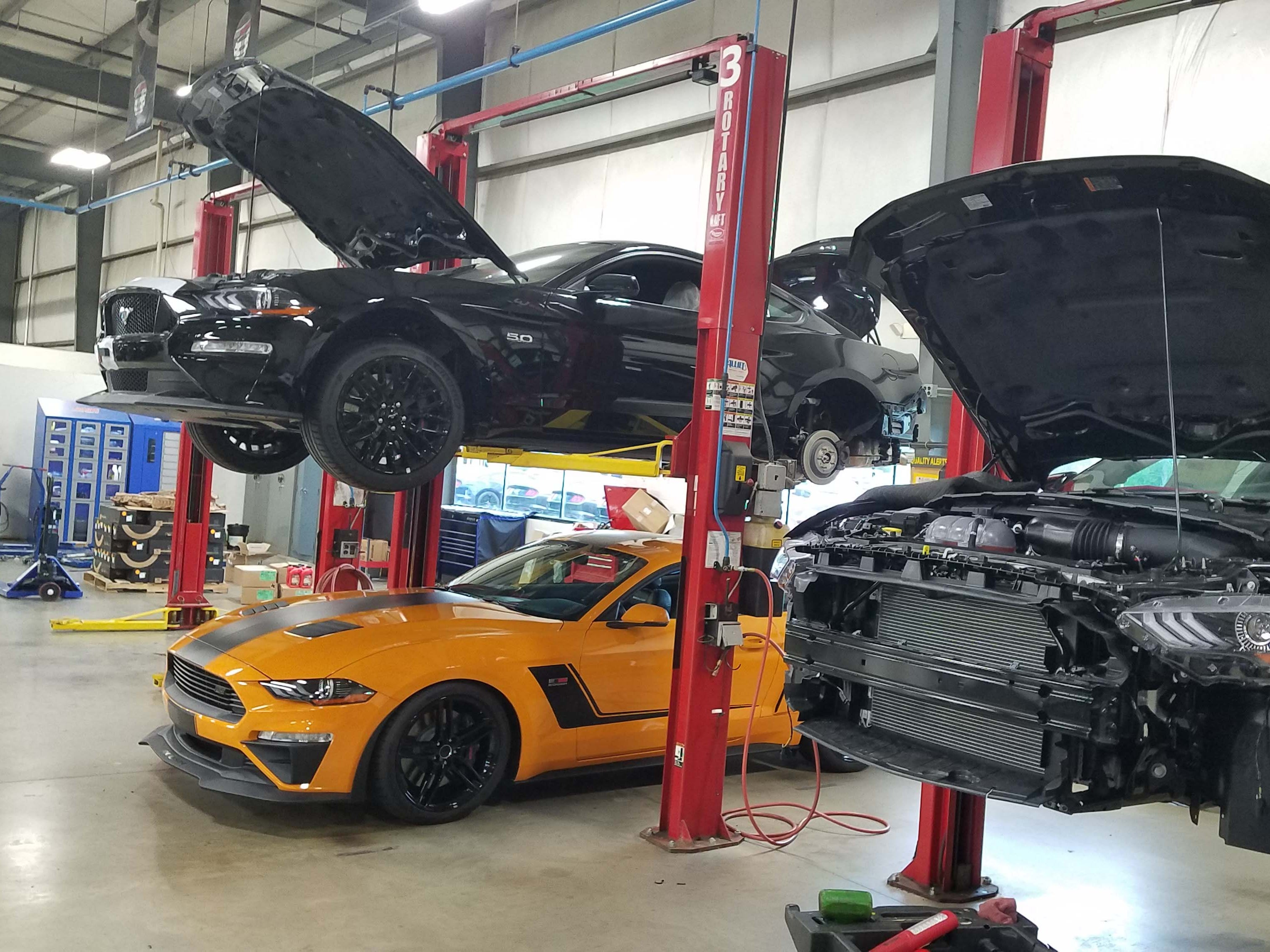 Roush modifies Ford Mustangs at its manufacturing facility in Plymouth, Michigan. State One, Stage Two, and Jackhammer mods are currently available with a Stage Three mod coming in September.
