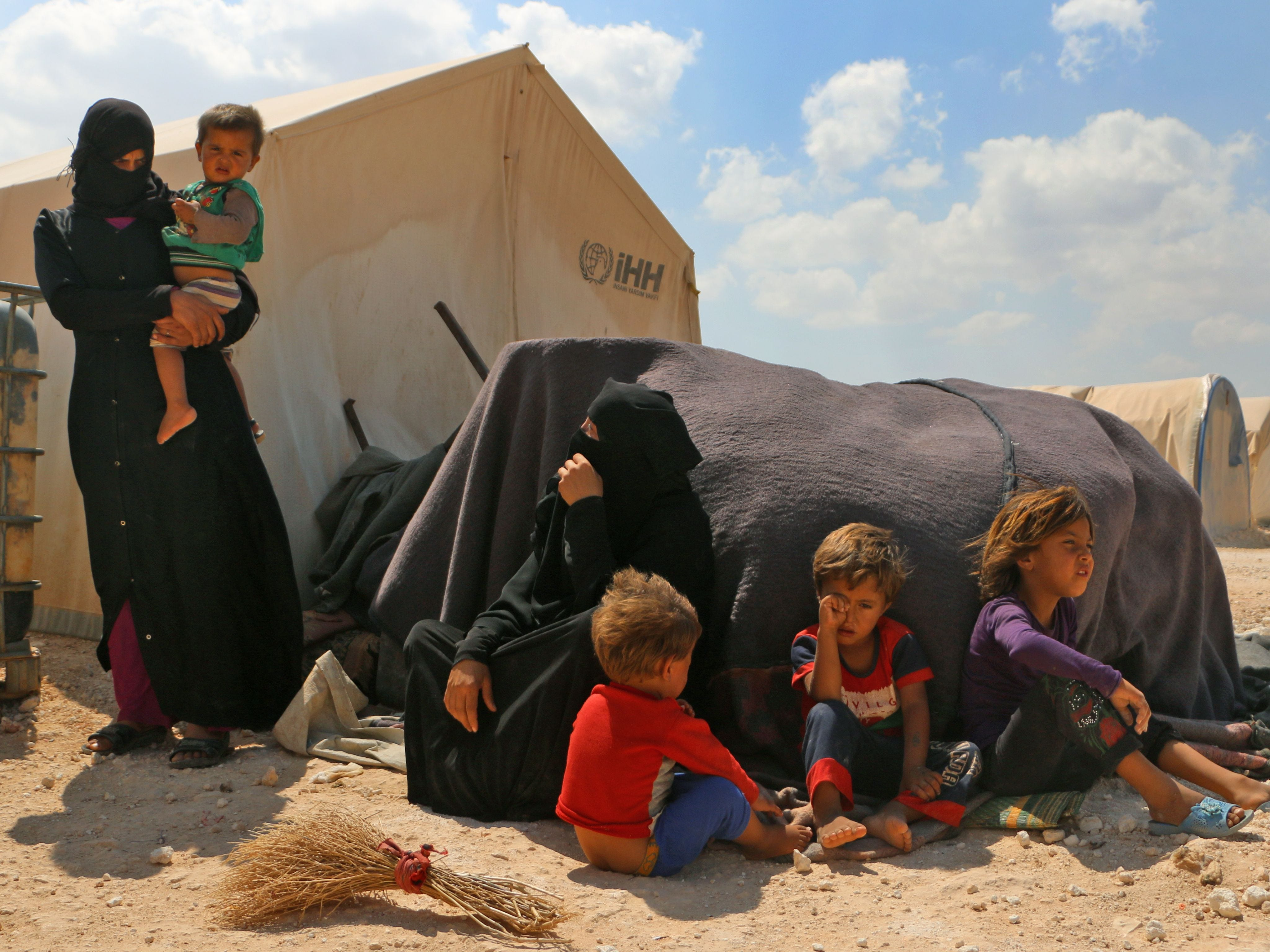 Displaced Syrians are seen at a camp in Kafr Lusin near the Bab al-Hawa border crossing with Turkey in the northern part of Syria's rebel-held Idlib province on Sept. 6, 2018. Hundreds of civilians have fled villages near the front line in Syria's Idlib province, fearing an imminent regime assault on the country's last major rebel bastion, a monitor said.