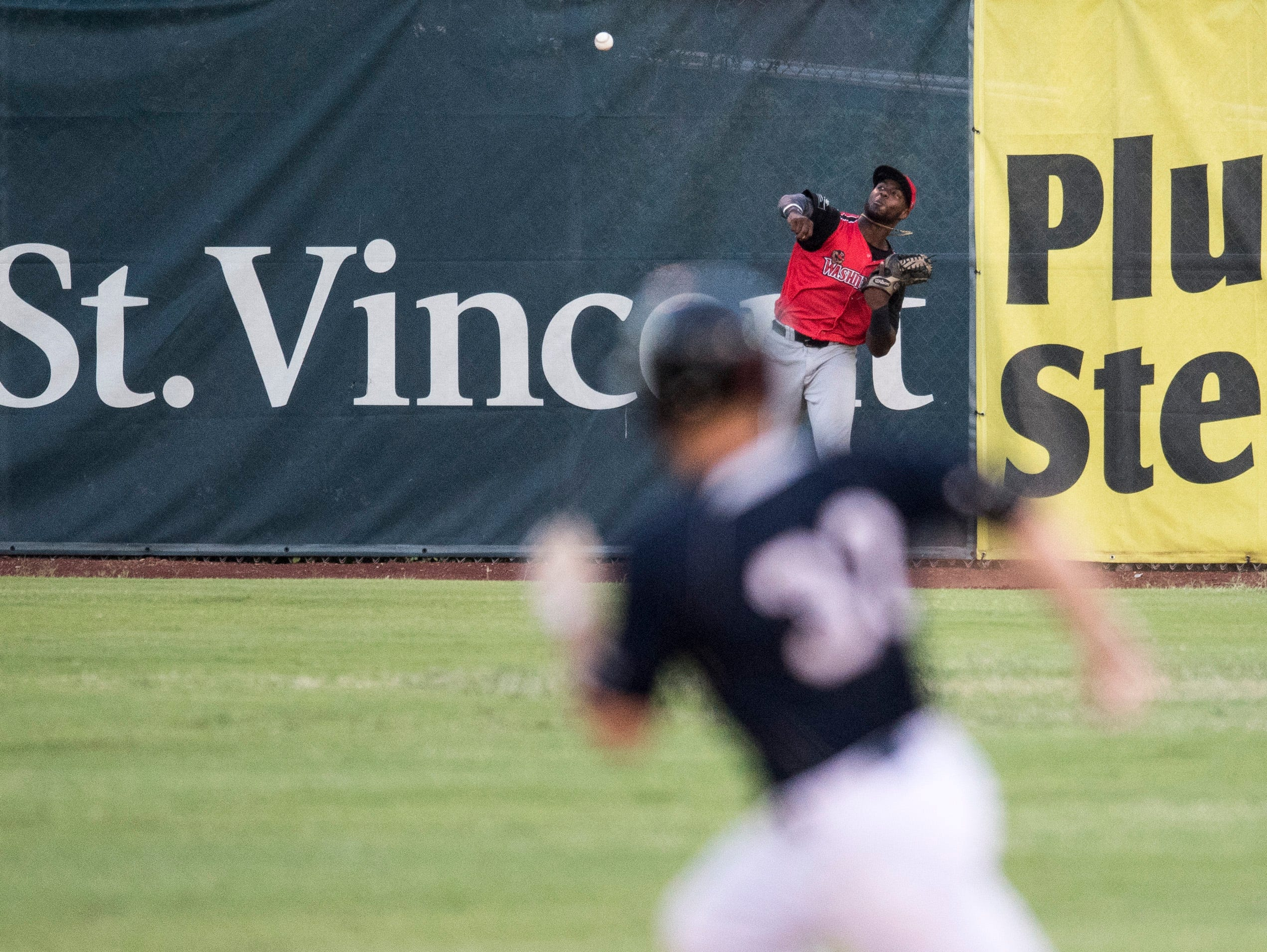 Washington's James Harris (4) throws the ball in from the outfield during game two of the Frontier League Division Series at Bosse Field against the Evansville Otters Wednesday, September 5, 2018.