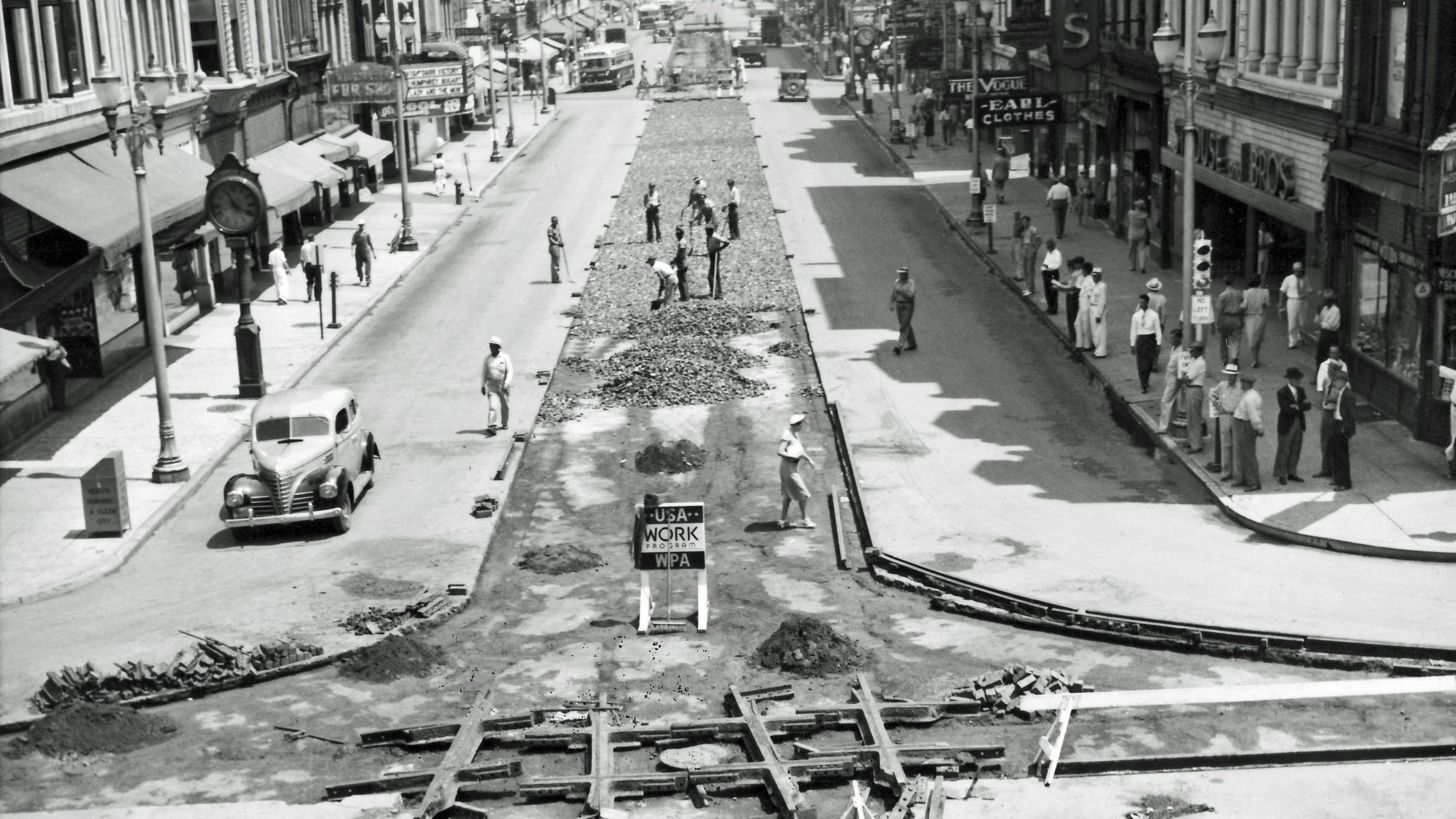 WPA workers remove train tracks along Main Street in downtown Evansville.
