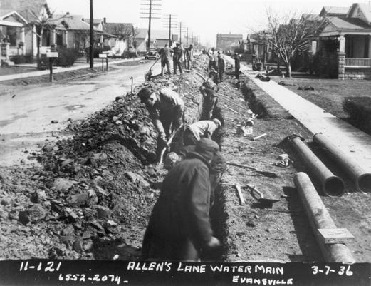 0912 Evfe History Lesson 1936 Depression Evansville Wpa Workers Allens Lane Sewer Morgan Collection