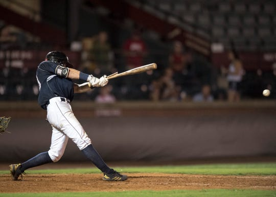 Evansville's Hunter Cullen (43) bat cracks during game two of the Frontier League Division Series at Bosse Field against the Washington Wild Things Wednesday, September 5, 2018.