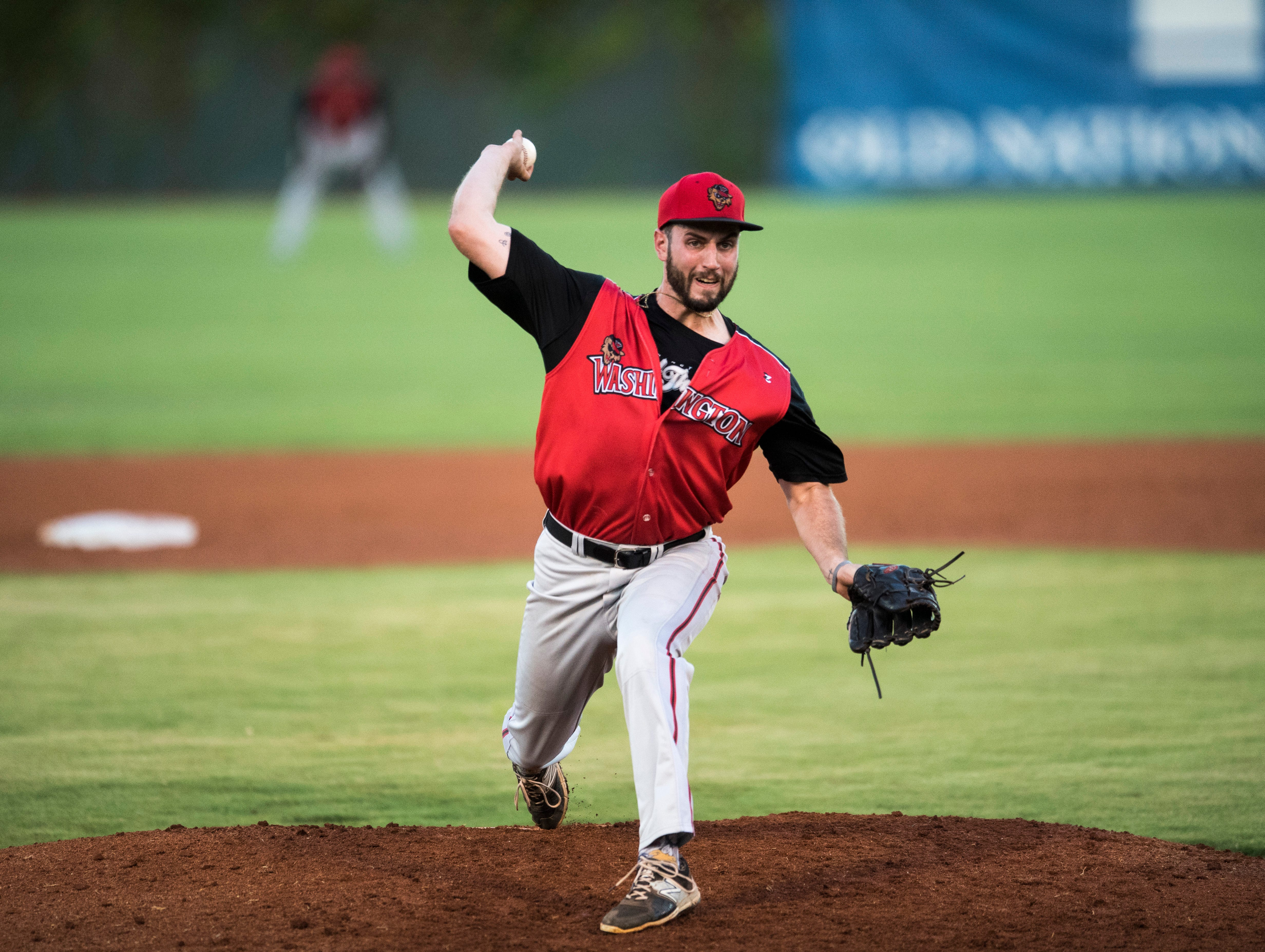 Washington's Chase Cunningham (20) pitches in the second inning during game two of the Frontier League Division Series at Bosse Field against the Evansville Otters Wednesday, September 5, 2018.