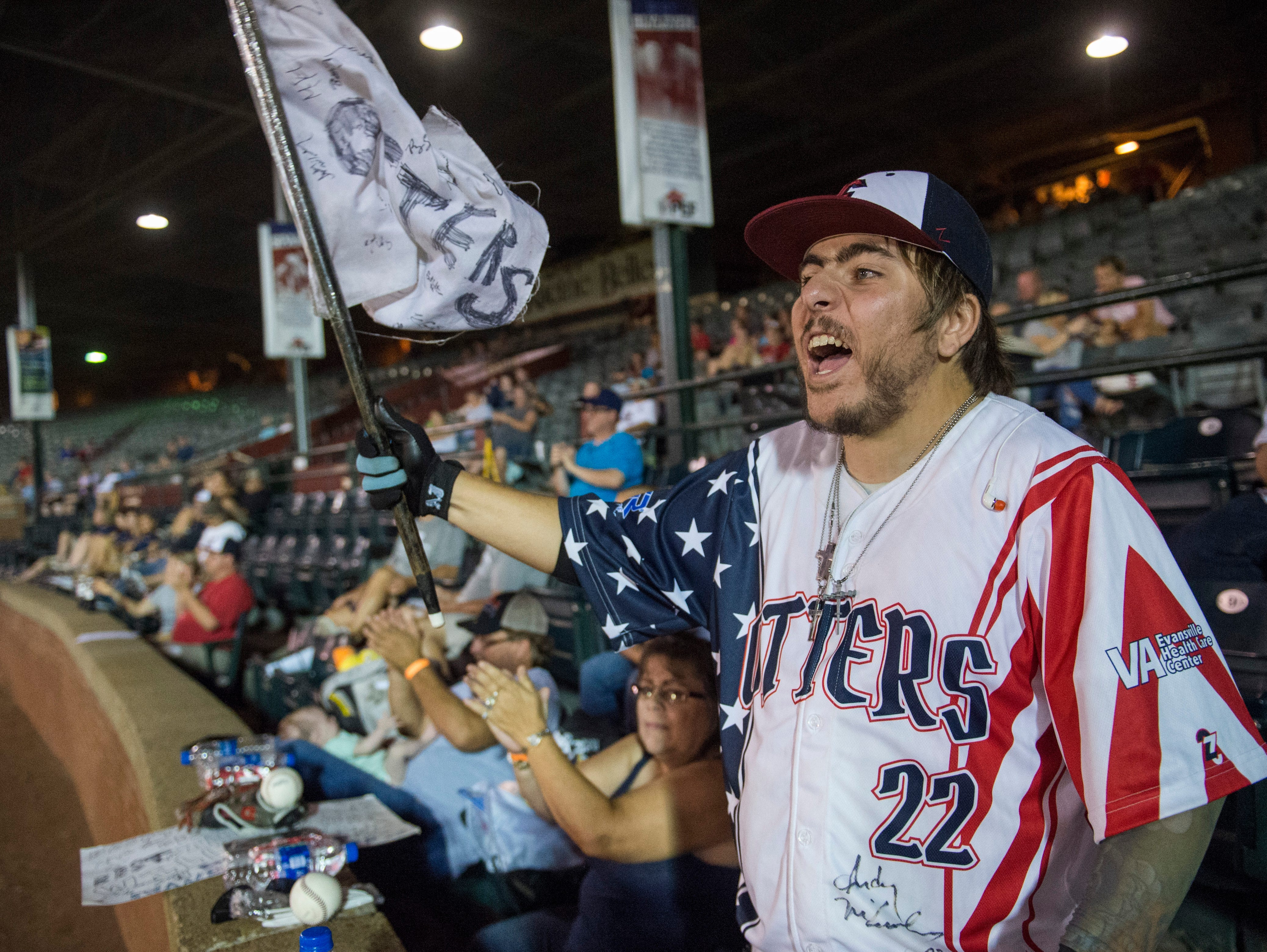 Evansville Otters biggest fan Nick Drake cheers on the Otters during game two of the Frontier League Division Series at Bosse Field against the Washington Wild Things Wednesday, September 5, 2018.