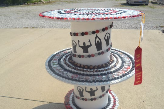 Grace Draeger's beaded table won second place at the Sandusky County Fair in August.