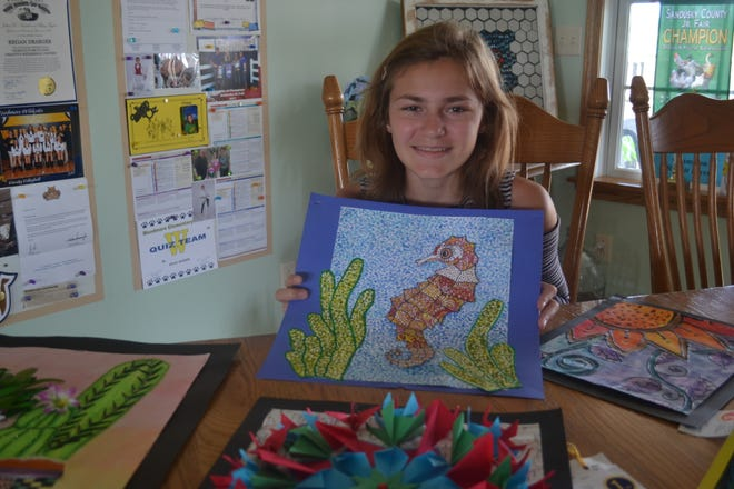 One of Draeger's favorite art methods is zentangle, an intricate technique that she used on the seahorse in this piece.