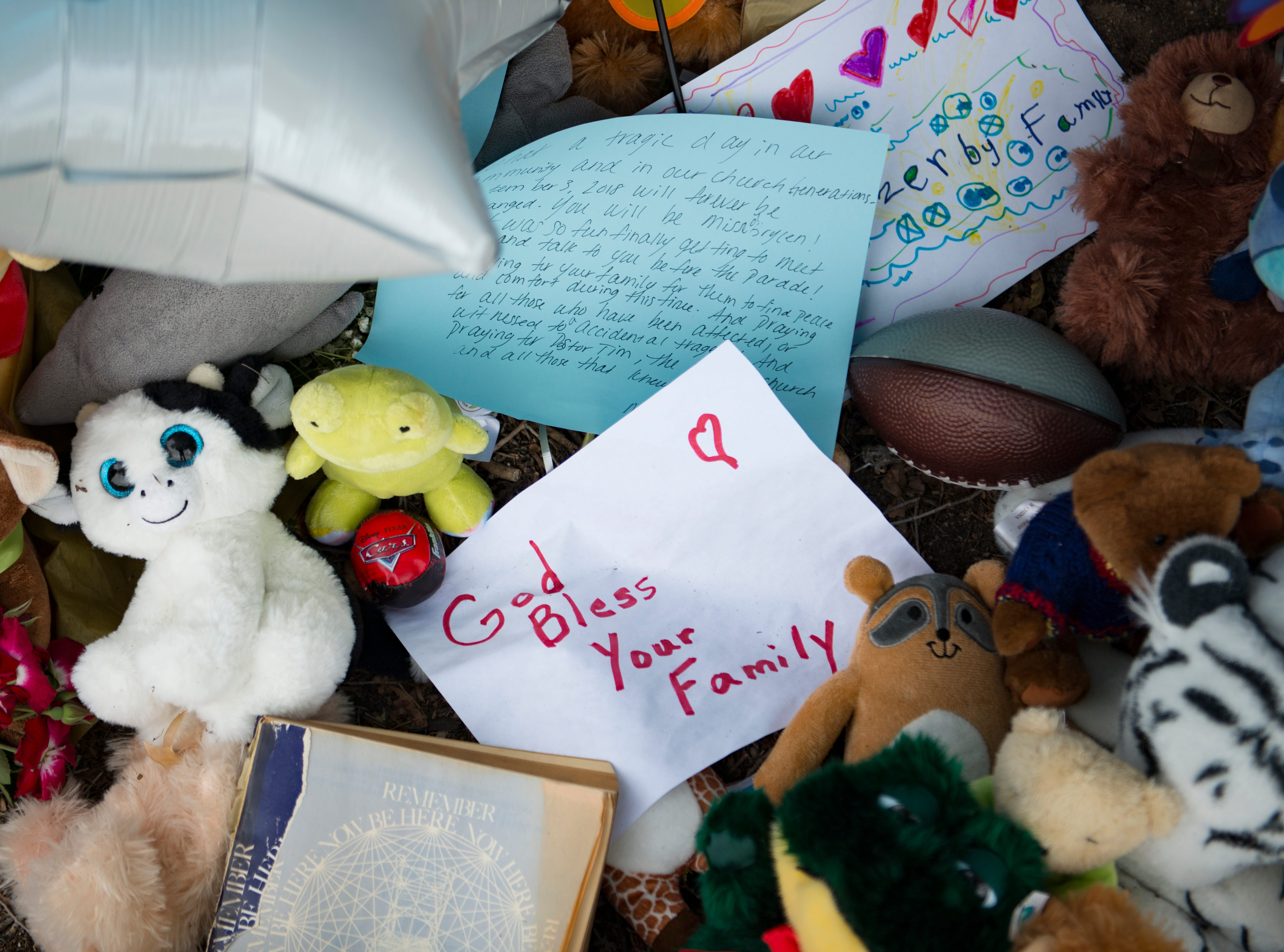 Notes and gifts sit at a memorial on 7th Street at the location where Brycen Zerby, 8, was killed in Windsor on Wednesday, September 5, 2018. Zerby was killed Monday after being struck by a float during the Windsor Harvest Festival Parade.