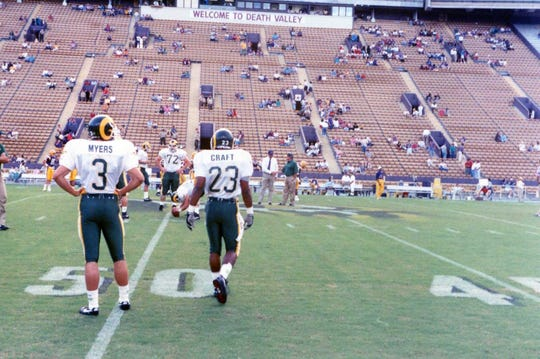 CSU football players Greg Myers, Jason Craft and their teammates warm up before a Sept. 26, 1992 win over LSU at Tiger Stadium. That victory remains CSU's only win ever over an SEC football team.