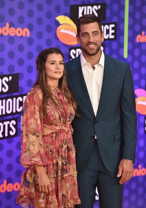 Danica Patrick and Aaron Rodgers attend the Nickelodeon Kids' Choice Sports Awards 2018 in July in California. They've been dating since January.