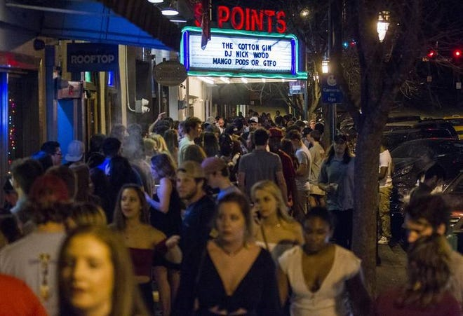A large crowd on Harden Street in Five Points on a Friday night in February 2018.