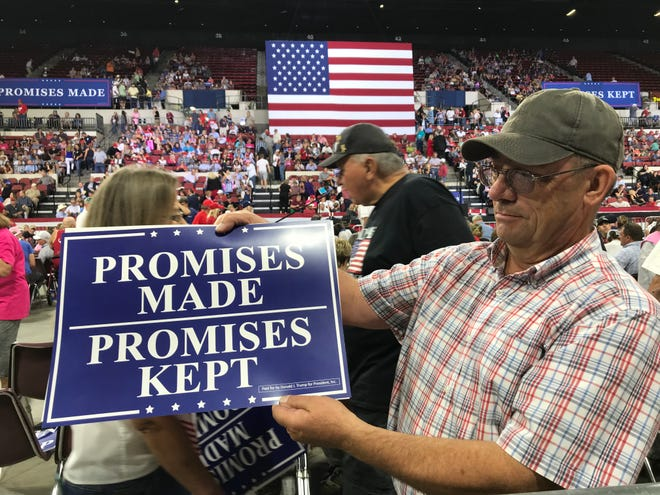 The Rimrock Auto Arena at MetraPark in Billings fills up as an expected crowd of 10,000 awaits President Donald Trump at a campaign rally.