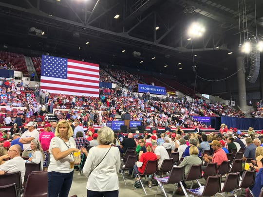 The crowd awaits the start of President Donald Trump's campaign rally in Billings.