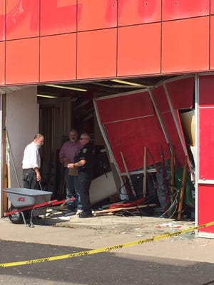 A vehicle collided with the Ace Hardware building on 10th Avenue South Thursday afternoon. No injuries were reported.
