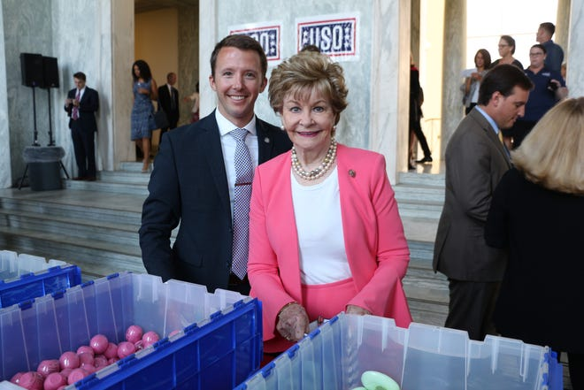 Congresswoman Bordallo and her Defense Fellow, Major Brandon Westling, USAF, join members of Congress and Congressional staff for the USO's Salute to Military Spouses care package assembly event. Care packages assembled by Congresswoman Bordallo will be offered to deployed service members to send to their spouses and loved ones at home.