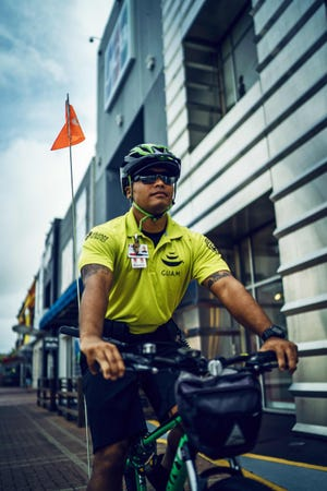 A Visitor Safety Officer on patrol in Tumon