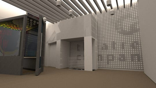 An LED marquee on the ceiling is part of w/purpose's rendering of the Fonseca Theatre Company's future lobby.