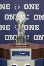 The Indianapolis Colts 2006 Super Bowl trophy on display.