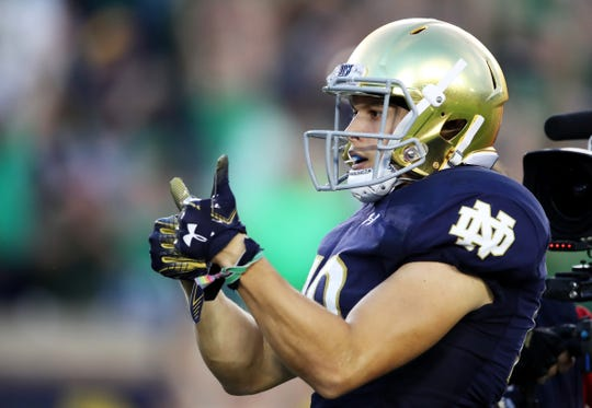Chris Finke #10 of Notre Dame celebrates his first quarter touchdown against the Michigan Wolverines at Notre Dame Stadium on Sept. 1, 2018 in South Bend.
