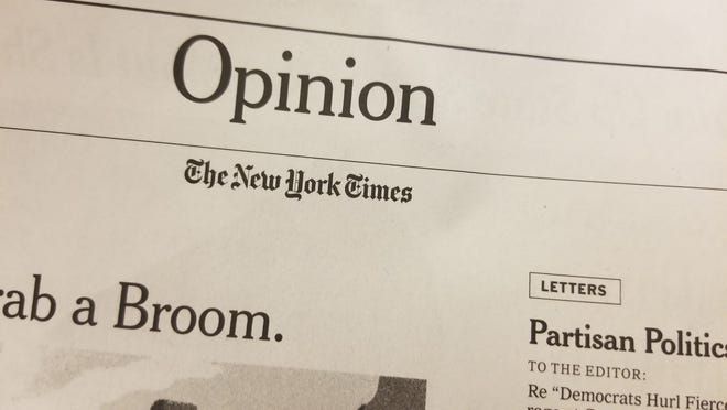 The New York Times opinion banner sits on top of the page that features letters to the editor, op-eds and more.