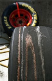 Sam Hornish Jr.'s right-rear tire showed serious wear after only a dozen laps early in the race. Driver Jimmie Johnson won the the Allstate 400 race at the Brickyard on Sunday, July 27, 2008. (Sam Riche / The Indianapolis Star)