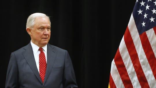 U.S. Attorney General Jeff Sessions is introduced before speaking at the 2018 Indiana Law Enforcement Conference at the Indianapolis Marriott East, Thursday, Sept. 6, 2018.