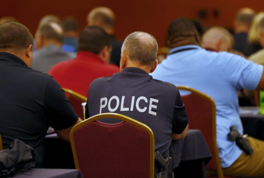 A room full of law enforcement attend to hear U.S. Attorney General Jeff Sessions speak at the 2018 Indiana Law Enforcement Conference at the Indianapolis Marriott East, Thursday, Sept. 6, 2018.